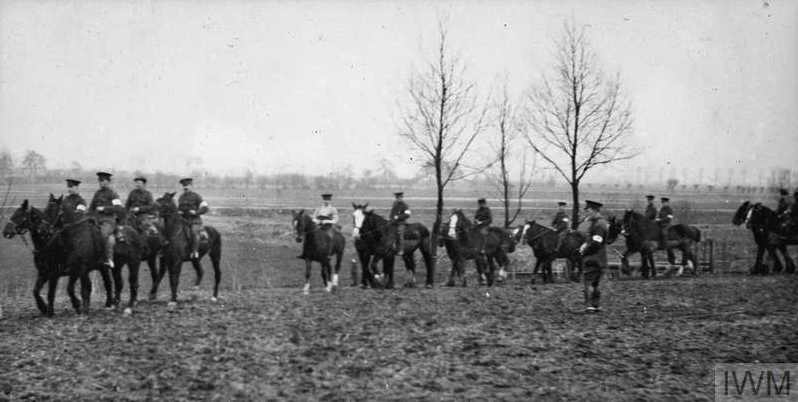 THE BRITISH EXPEDITIONARY FORCE ON THE WESTERN FRONT, 1914-1915 (Q 50288) Exercising the horses at Erquinghem-Lys, November 1914. 18th Field Ambulance, 6th Division. Copyright: © IWM. Original Source: http://www.iwm.org.uk/collections/item/object/205284103